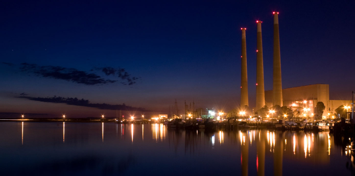 Night shot of power plant